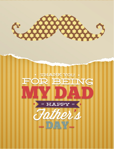 Father's Day vector illustration with vintage retro type font,moustache,flowers,torn paper 2015 04 04 922