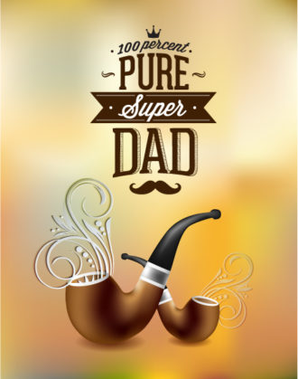 Father's Day vector illustration with vintage retro type font,flowers, pipe Vector Illustrations old