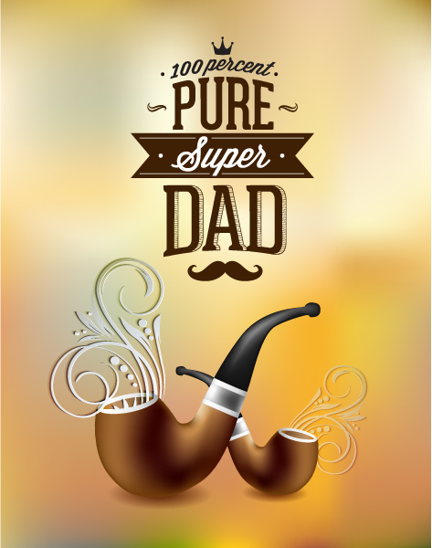 Father's Day vector illustration with vintage retro type font,flowers, pipe 2015 04 04 924