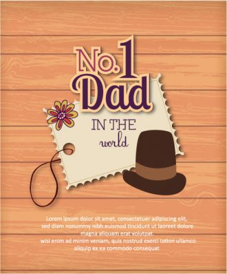 Father's Day vector illustration with vintage retro type font, sticker, tag,hat, wood Vector Illustrations old