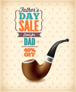 Father's Day vector illustration with vintage retro type font,pipe Vector Illustrations old