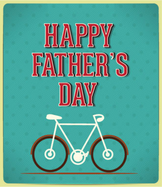 Father's Day vector illustration with vintage retro type font,bike Vector Illustrations old