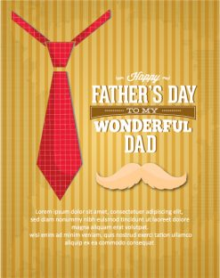 Father's Day vector illustration with vintage retro type font, moustache,tie Vector Illustrations old