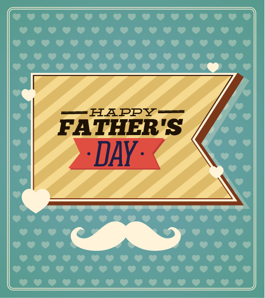 Father's Day vector illustration with vintage retro type font, moustache,ribbon Vector Illustrations old