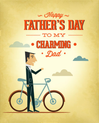 Father's Day vector illustration with vintage retro type font, people, cloud Vector Illustrations old