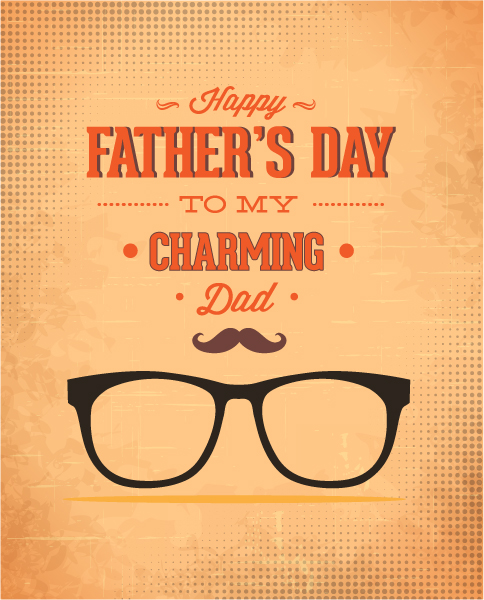 Father's Day vector illustration with vintage retro type font,glasses 2015 04 04 944