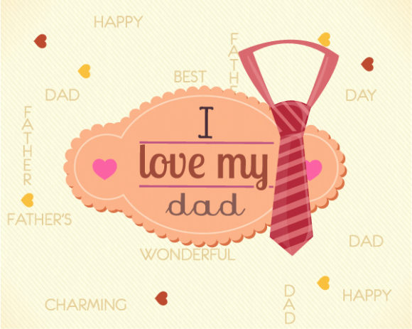 Father's Day vector illustration with vintage retro type font,frame,tie Vector Illustrations old