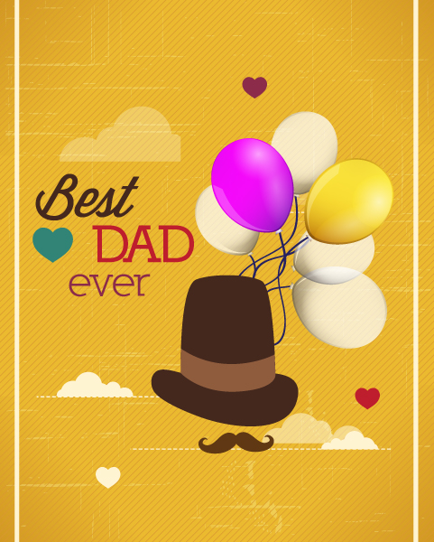 Type, Hat Retro, Balloons Vintage, Father, Clouds, Illustration Vector Background Fathers Day Vector Illustration  Vintage Retro Type Font, Hat, Balloons, Clouds 2015 04 04 947