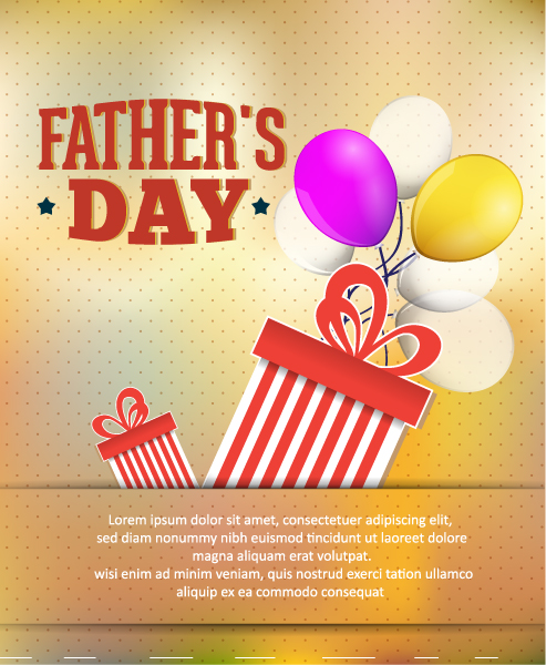 Father's Day vector illustration with vintage retro type font,gift, balloons Vector Illustrations old