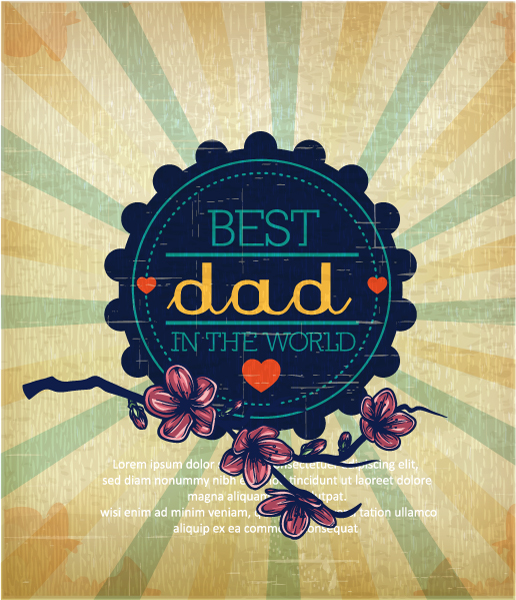 Father's Day vector illustration with vintage retro type font,flowers, rays, bagde, 2015 04 04 949
