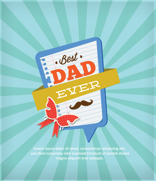 Father's Day vector illustration with vintage retro type font,rays, frame, butterfly 2015 04 04 951