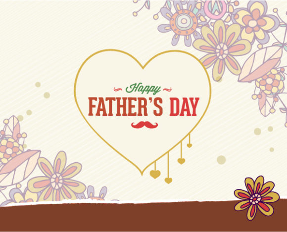 Father's Day vector illustration with vintage retro type font, heart 2015 04 04 953