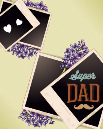Father's Day vector illustration with vintage retro type font,flowers,photo frame Vector Illustrations old
