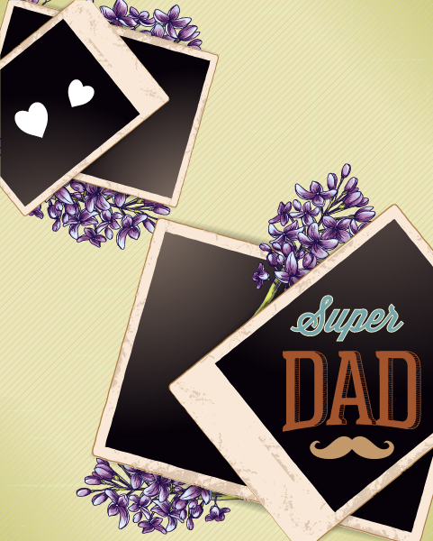 Father's Day vector illustration with vintage retro type font,flowers,photo frame 2015 04 04 956