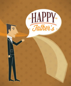 Father's Day vector illustration with vintage retro type font,people, tie, chat balloon Vector Illustrations old