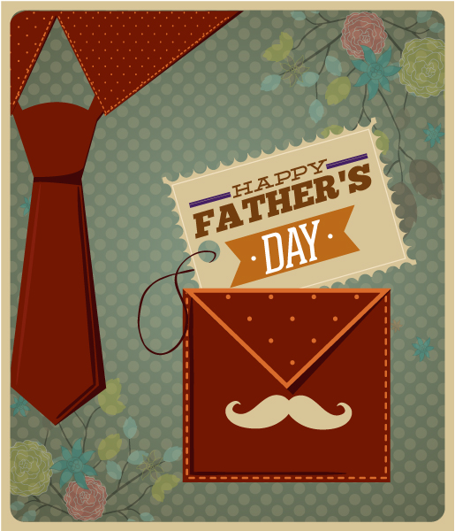 Father's Day vector illustration with vintage retro type font,  moustache, tie,  pocket,flowers, Vector Illustrations old