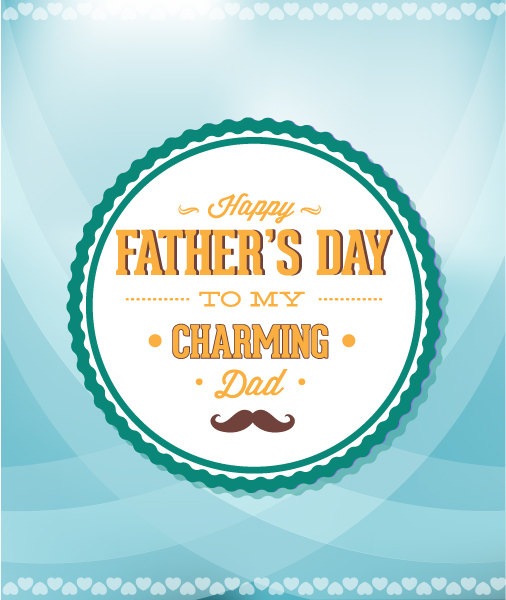 Father's Day vector illustration with vintage retro type font,  moustache, badge 2015 04 04 961