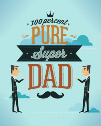Father's Day vector illustration with vintage retro type font, people, clouds,moustache Vector Illustrations old