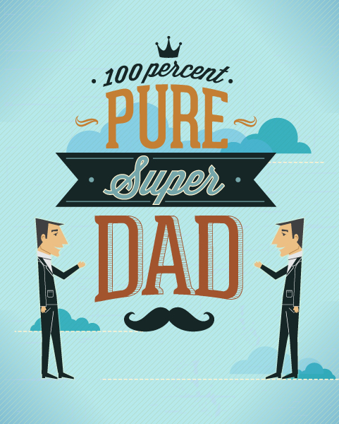 Father's Day vector illustration with vintage retro type font, people, clouds,moustache 2015 04 04 963