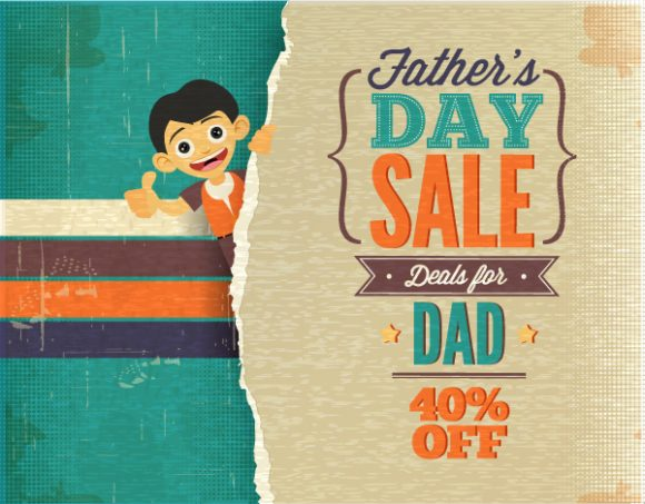 Father's Day vector illustration with vintage retro type font, torn paper, kid, Vector Illustrations old