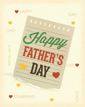 Father's Day vector illustration with vintage retro type font, torn paper Vector Illustrations old