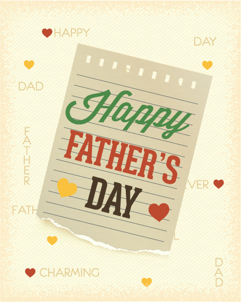 Father's Day vector illustration with vintage retro type font, torn paper 2015 04 04 970
