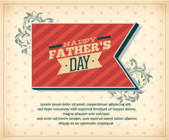 Father's Day vector illustration with vintage retro type font,ribbon,flowers Vector Illustrations old