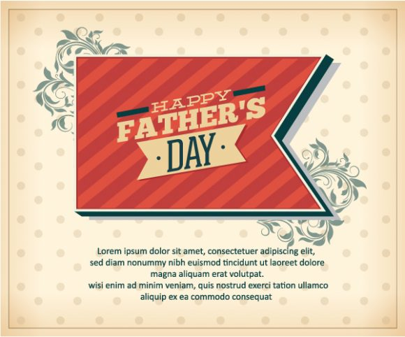 Father's Day vector illustration with vintage retro type font,ribbon,flowers 2015 04 04 974