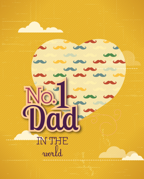 Father's Day vector illustration with vintage retro type font, moustache, heart,cloud 2015 04 04 976