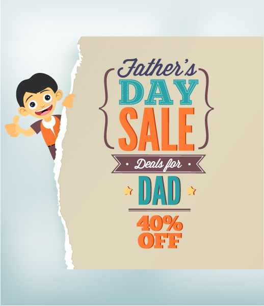 Father's Day vector illustration with vintage retro type font, kid and torn paper Vector Illustrations old