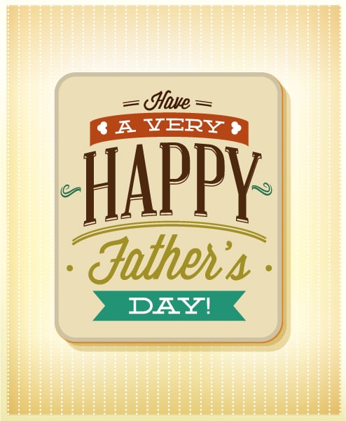 Father's Day vector illustration with vintage retro type font and card Vector Illustrations old