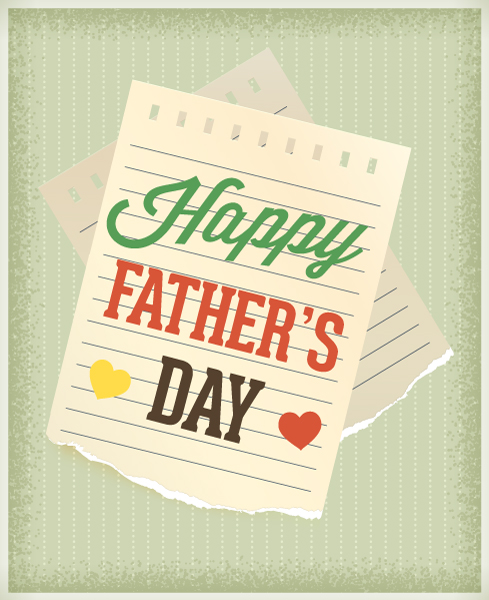 Father's Day vector illustration with vintage retro type font,torn paper and heart 2015 04 04 980