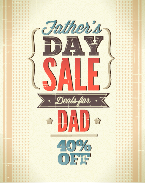 Day Eps Vector: Fathers Day Eps Vector Illustration With Vintage Retro Type Font, 1