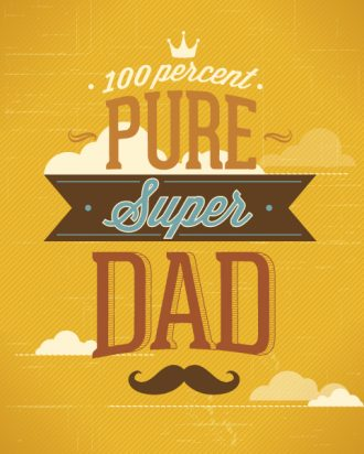 Father's Day vector illustration with vintage retro type font, ribbon, clouds, moustache Vector Illustrations old
