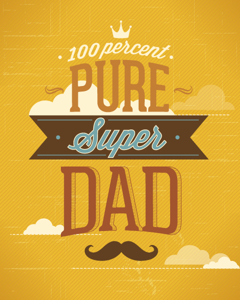 Father's Day vector illustration with vintage retro type font, ribbon, clouds, moustache 2015 04 04 985