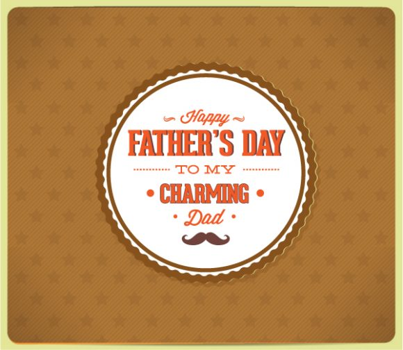 Father's Day vector illustration with vintage retro type font and badge Vector Illustrations old