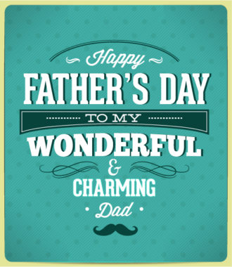 Father's Day vector illustration with vintage retro type font Vector Illustrations old
