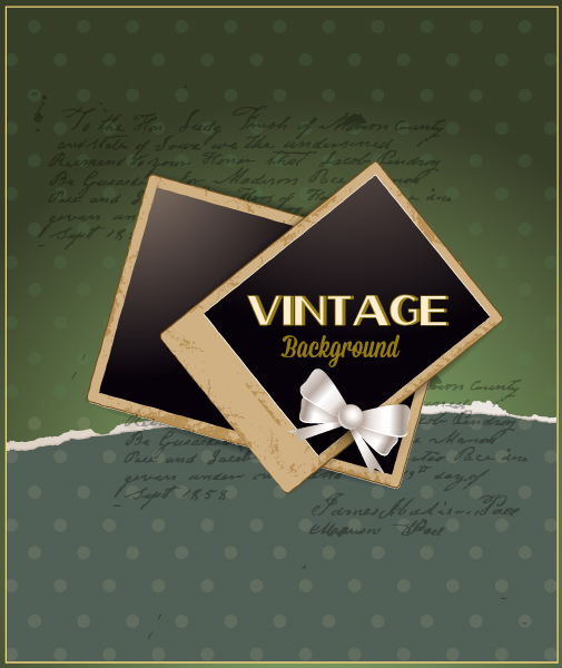 vintage vector illustration with torn paper and photo frame, and ribbon Vector Illustrations old