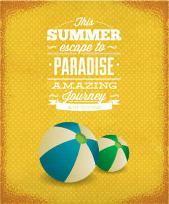 Summer Vector  Illustration with ball Vector Illustrations palm
