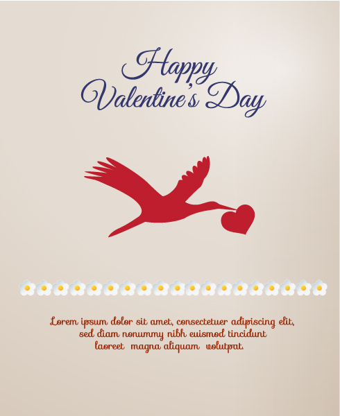 Unique Heart Eps Vector: Valentines Day Eps Vector Illustration With Heart And Birds 2015 05 05 175