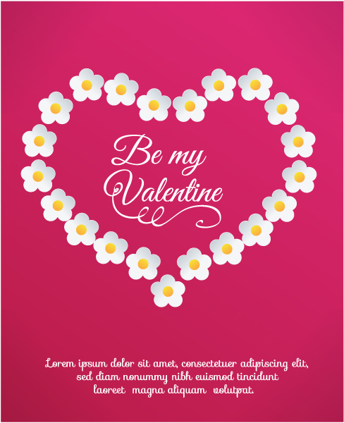 Valentines Vector Artwork: Valentines Day Vector Artwork Illustration With Heart And Flower 3