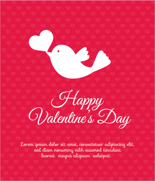 Trendy Abstract-2 Vector Background: Valentines Day Vector Background Illustration With Heart And Bird 3