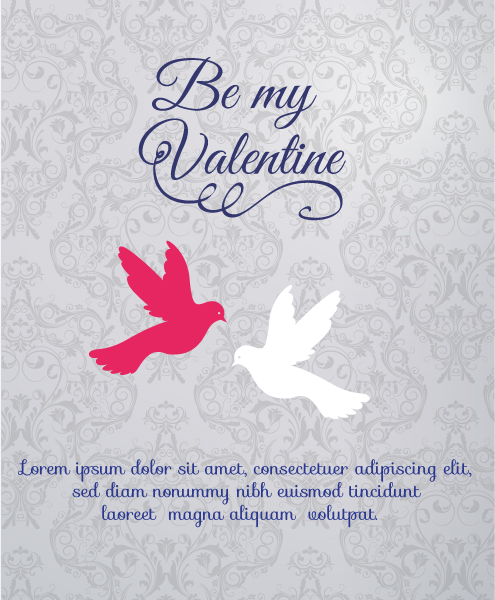 Vector Vector: Valentines Day Vector Illustration With Birds And Florals 3