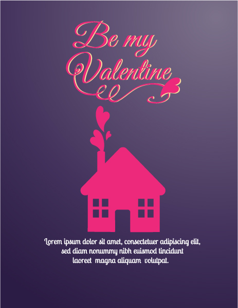 Awesome Day Vector Illustration: Happy  Valentines Day Vector Illustration Illustration With House And Hearts 2015 05 05 189