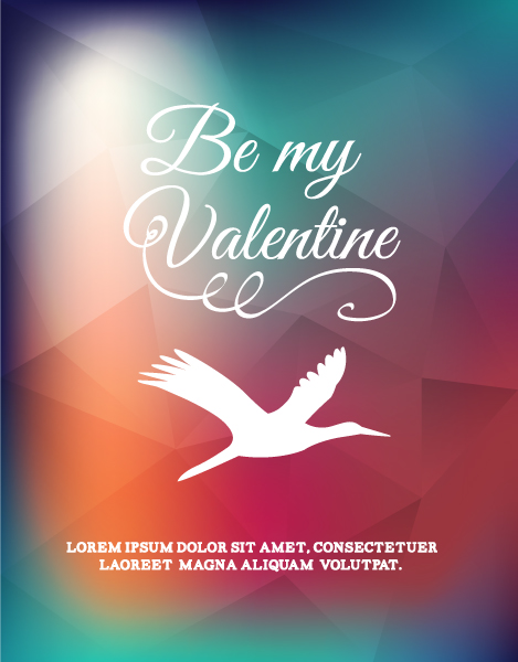 Download Vector Eps Vector: Happy  Valentines Day Eps Vector Illustration With Bird 3