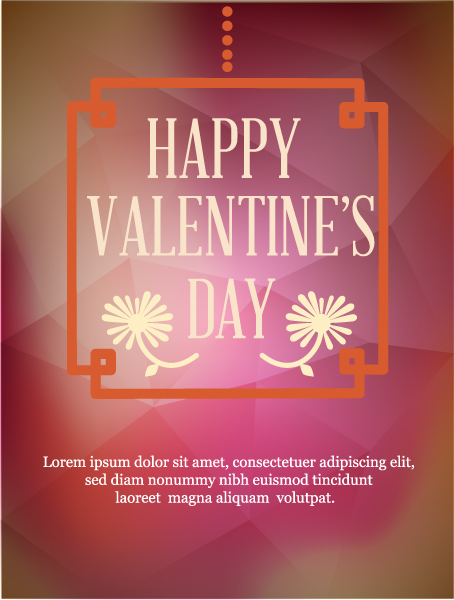 Exciting Hearts Vector Artwork: Happy  Valentines Day Vector Artwork Illustration With Frame And Flowers 3