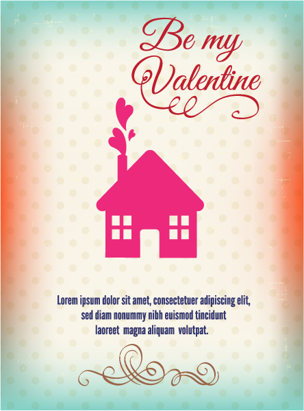 Lovely Gift Vector Background: Happy  Valentines Day Vector Background Illustration With House And Hearts 3