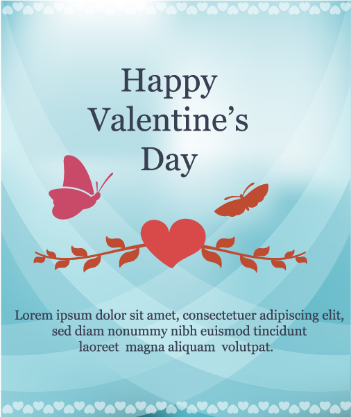 Happy  Valentine's Day Vector illustration with butterfly and heart Vector Illustrations vector