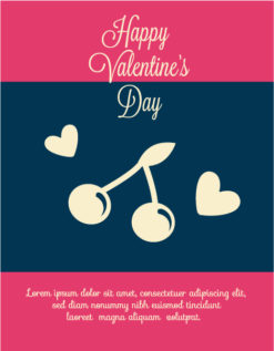 Happy  Valentine's Day Vector illustration with cherry and  heart Vector Illustrations vector