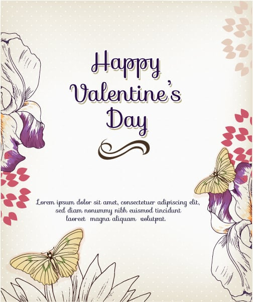 Happy  Valentine's Day Vector illustration with  flowers and butterfly Vector Illustrations vector
